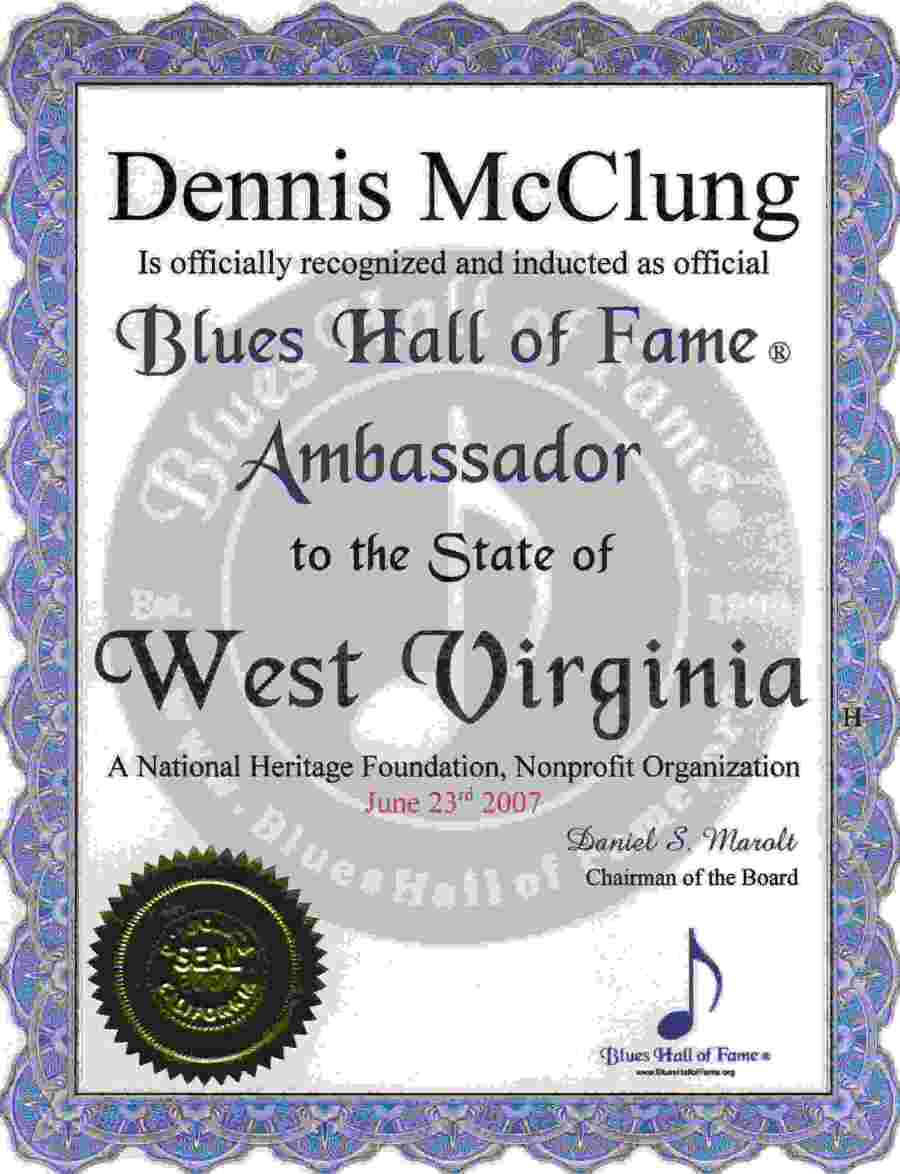West virginia blues hall of fame legendary master and for Dennis mcclung