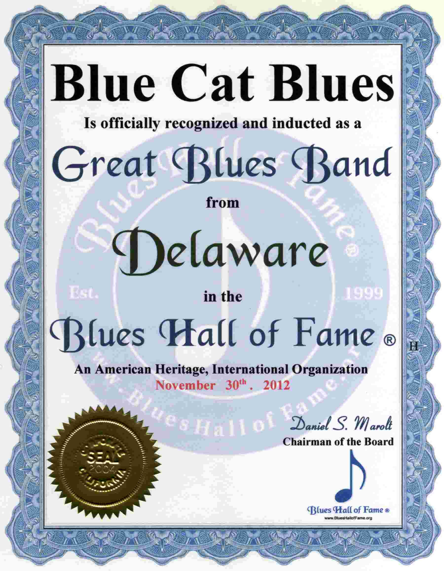 Delaware Blues Hall of Fame Blues Artists of Delaware inducted